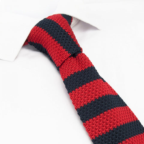 Red & Navy Knitted Square Cut Tie