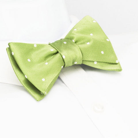 Self-Tie Pale Green Polka Dot Silk Bow Tie