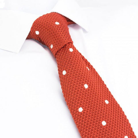 Burnt Orange Polka Dot Knitted Square Cut Tie