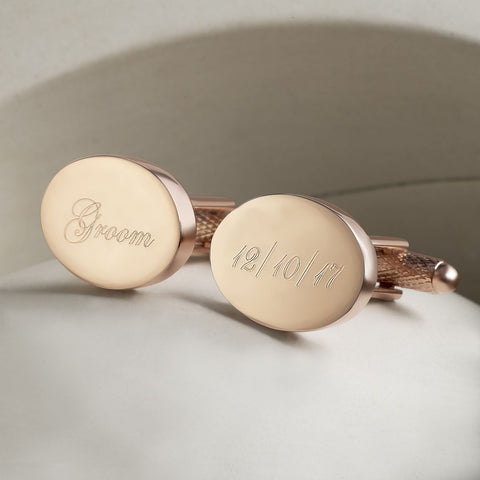 Rose Gold Personalised Wedding Role & Date Cufflinks