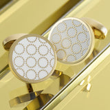 Gold Textured Circle Cufflinks