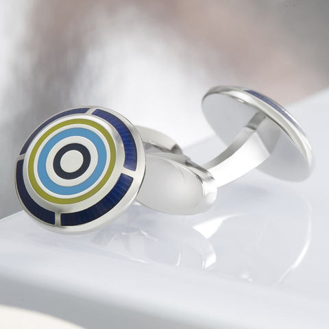 Blue Multicoloured Circle Cufflinks