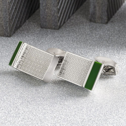 Executive Green Lined Lattice Cufflinks