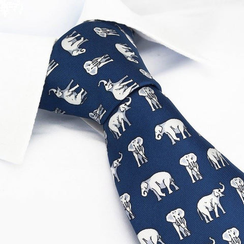 Blue Elephants Silk Tie
