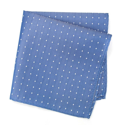 Blue Polka Dot Woven Silk Handkerchief
