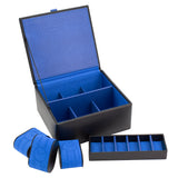 Dulwich Park Lane Black Leather Watch & Cufflink Box (Blue)