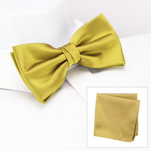 Plain Gold Silk Bow Tie & Handkerchief Set