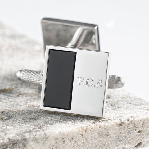 Silver Plated Square Onyx Engraved Cufflinks