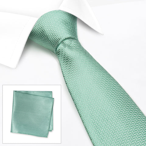 Duck Egg Herringbone Silk Tie & Handkerchief Set