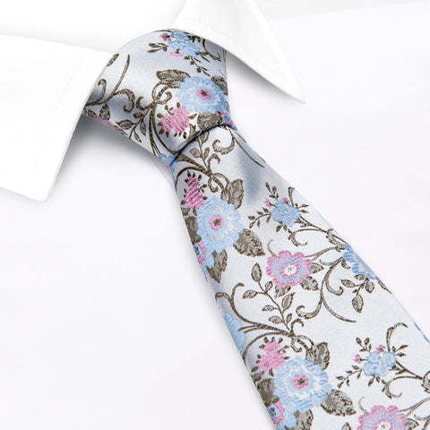 Blue & Pink Luxury Floral Silk Tie