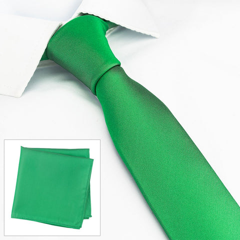 Plain Green Slim Silk Tie & Handkerchief Set