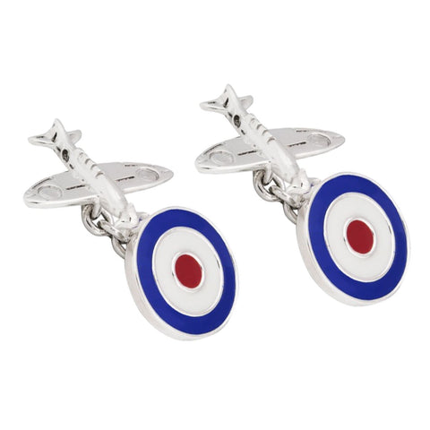 Sterling Silver Spitfire Cufflinks with RAF Roundel Clasp