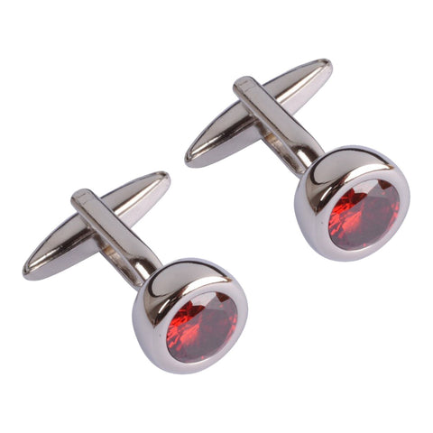 Large Red Crystal Cufflinks