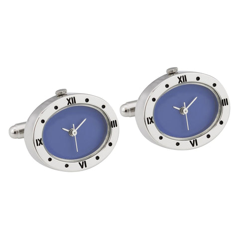 Silver Plated Oval Working Watch Cufflinks with Blue Dial