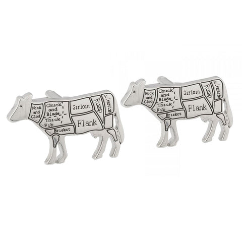 Butchers Cuts of Beef Cow Cufflinks