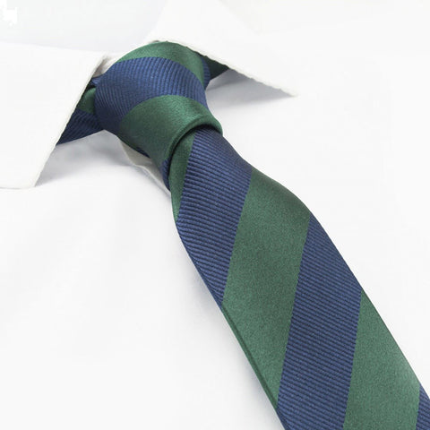 Dark Green & Navy Woven Striped Slim Silk Tie
