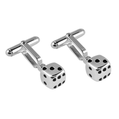 Sterling Silver Black Enamel Dice Cufflinks