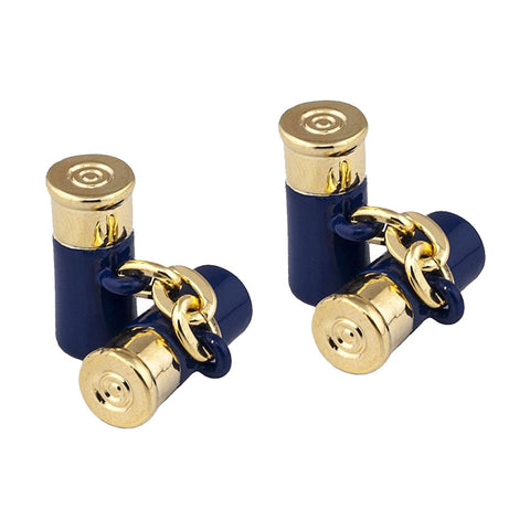 Blue and Gold Shotgun Cartridge Cufflinks