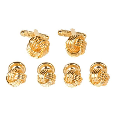 Gold Knot Cufflinks and Dress Studs Gift Set