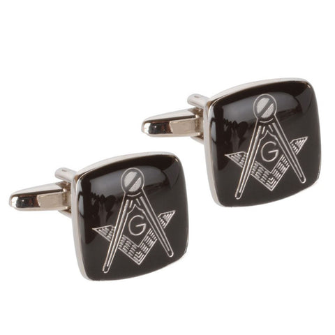 Black and Silver Masonic Cufflinks