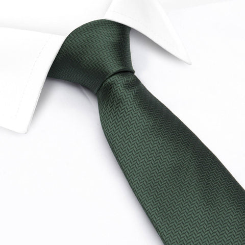 Dark Green Herringbone Silk Tie