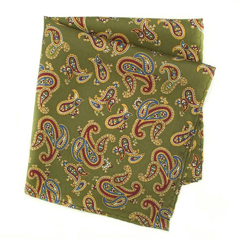 Country Green Large Paisley Silk Handkerchief