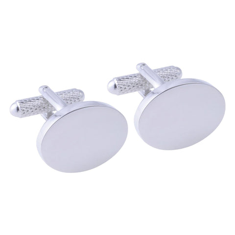 Silver Plated Oval Cufflinks