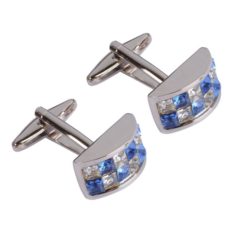 Blue and White Rounded Crystal Cufflinks