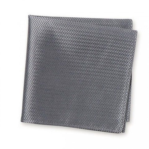 Grey Herringbone Silk Handkerchief