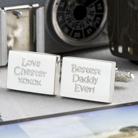 Bestest Daddy Ever Engraved Rectangle Cufflinks