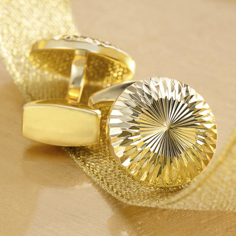 Striated Circular Gold Cufflinks
