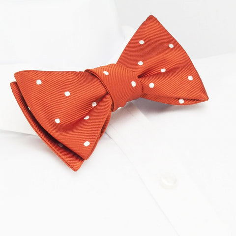 Self-Tie Burnt Orange Polka Dot Silk Bow Tie