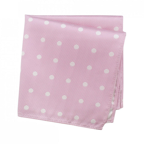 Pink Silk Handkerchief With White Polka Dots