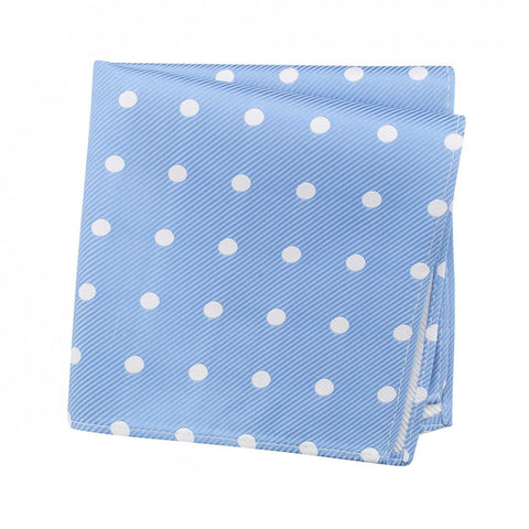 Blue Silk Handkerchief With White Polka Dots