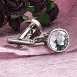 Clear Multifaceted Crystal Cufflinks