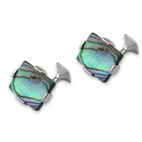 Sterling Silver Large Oyster Shell Rectangular Cufflinks
