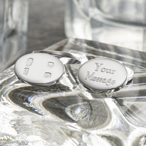 Sterling Silver Hallmarked Double Sided Oval Engraved Cufflinks