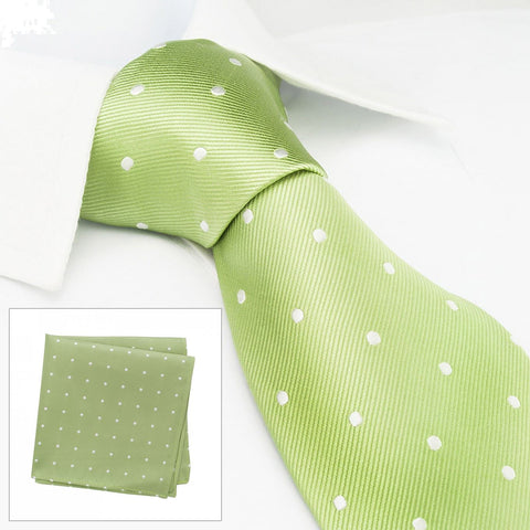 Pale Green Polka Dot Woven Silk Tie & Handkerchief Set