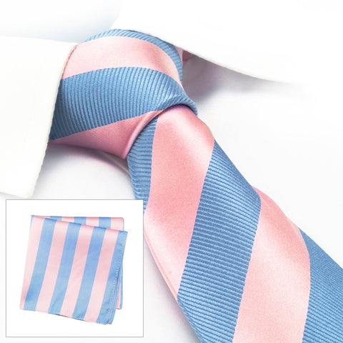 Pink & Blue Woven Striped Silk Tie & Handkerchief Set