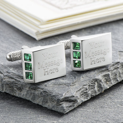 Green Crystal Wedge Cufflinks (Engraved)