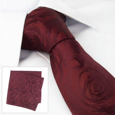 Wine Rose Luxury Woven Silk Tie & Handkerchief Set