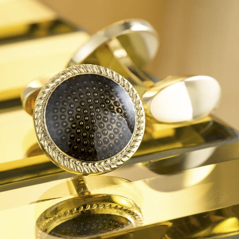 Gold Plated Bevelled Glass Cufflinks