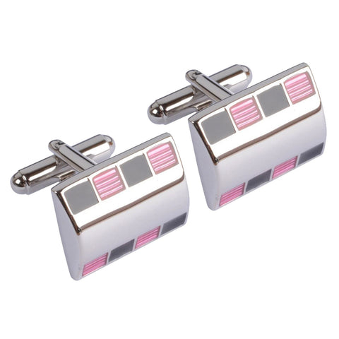 Pink and Black Patterned Cufflinks