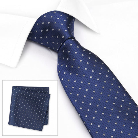 Blue Micro Flower Aztec Silk Tie & Handkerchief Set