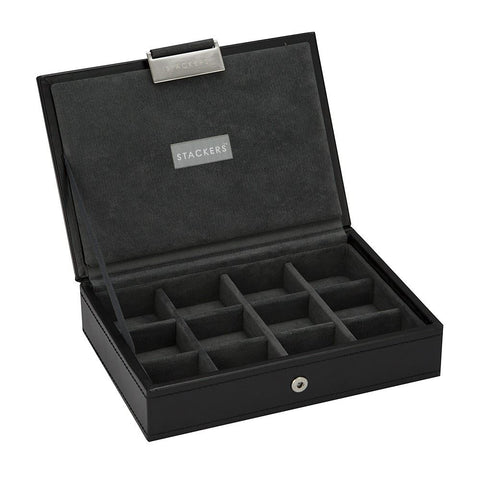 12 Cufflink Piece Lidded Stacker With Grey Lining