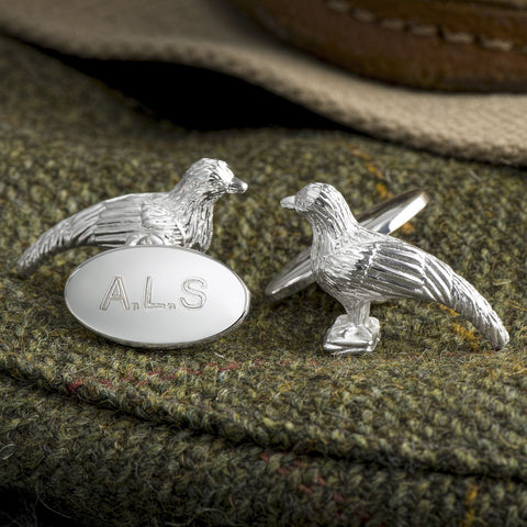 Silver Plated Pheasant Chain Cufflinks (Engraved)