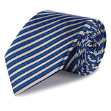 Blue and White Striped Luxury Woven Silk Tie