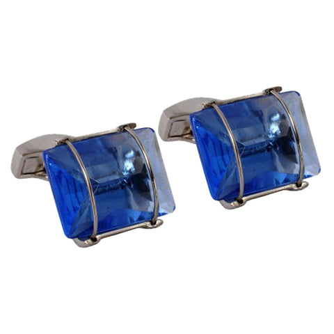 Faceted Sapphire Crystal Stone Cufflinks