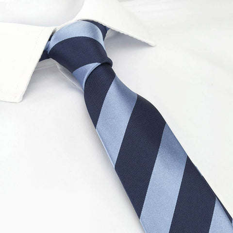 Light Blue & Navy Striped Slim Silk Tie