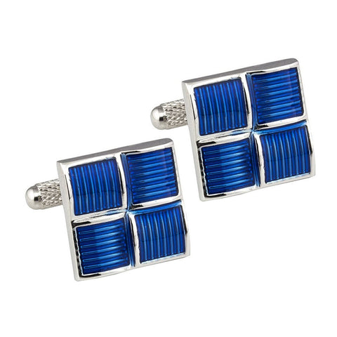 Four Squared Blue Cufflinks
